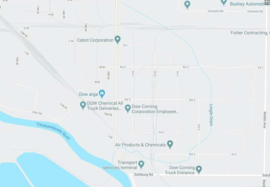 Lingle Drain is located on Dow property in the Michigan Operations Industrial Park, along South Saginaw Road. (Google photo)
