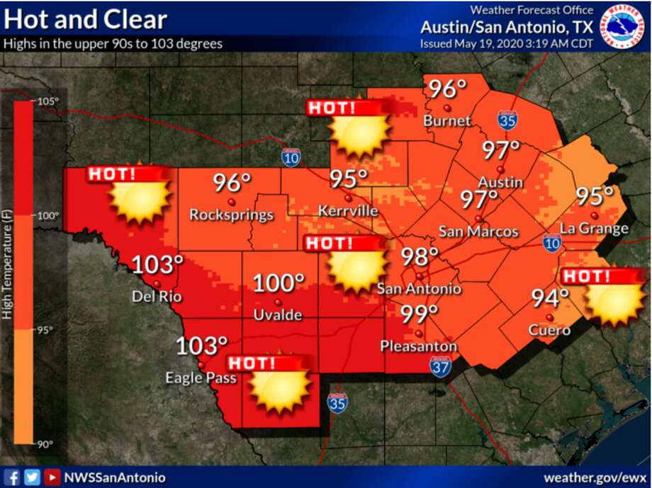 Tuesday's weather could tie for the hottest day of the year so far, according to the National Weather Service. Photo: National Weather Service
