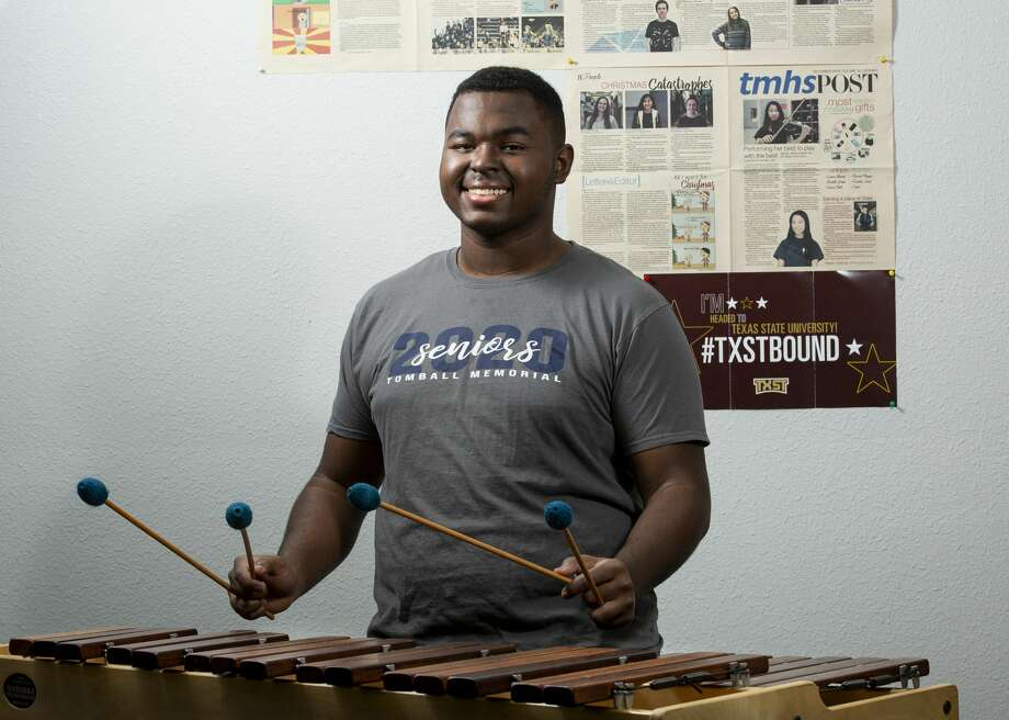"Tomball Memorial High School's Ralph ""Isaiah"" Johnson is the editor of his school's newspaper and a member of the German Honor Society. The marimba-playing member of the school band plans to study urban planning at Texas State University. Photo: Godofredo A. Vásquez, Staff Photographer / ? 2020 Houston Chronicle"