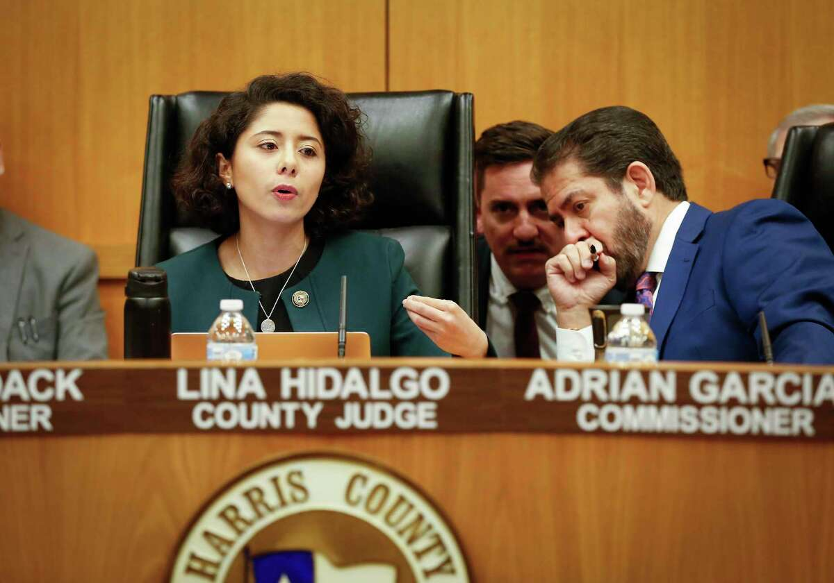 Harris County Judge Lina Hidalgo and Commissioner Adrian Garcia during the Harris County Commissioners Court Tuesday, March 10, 2020, in Houston.