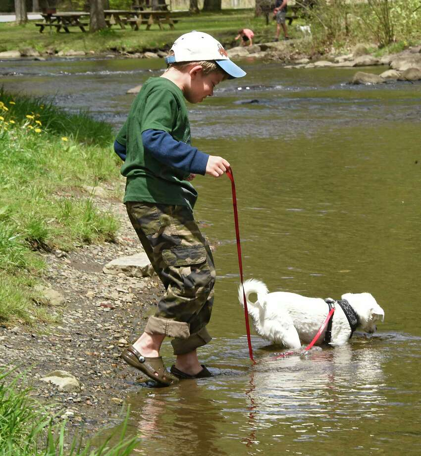 Alexander Kalinowski, 9, of Saratoga Springs follows his dog Lily as she looks for rocks in the stream in Saratoga Spa State Park on Tuesday, May 19, 2020 in Saratoga Springs, N.Y. (Lori Van Buren/Times Union)