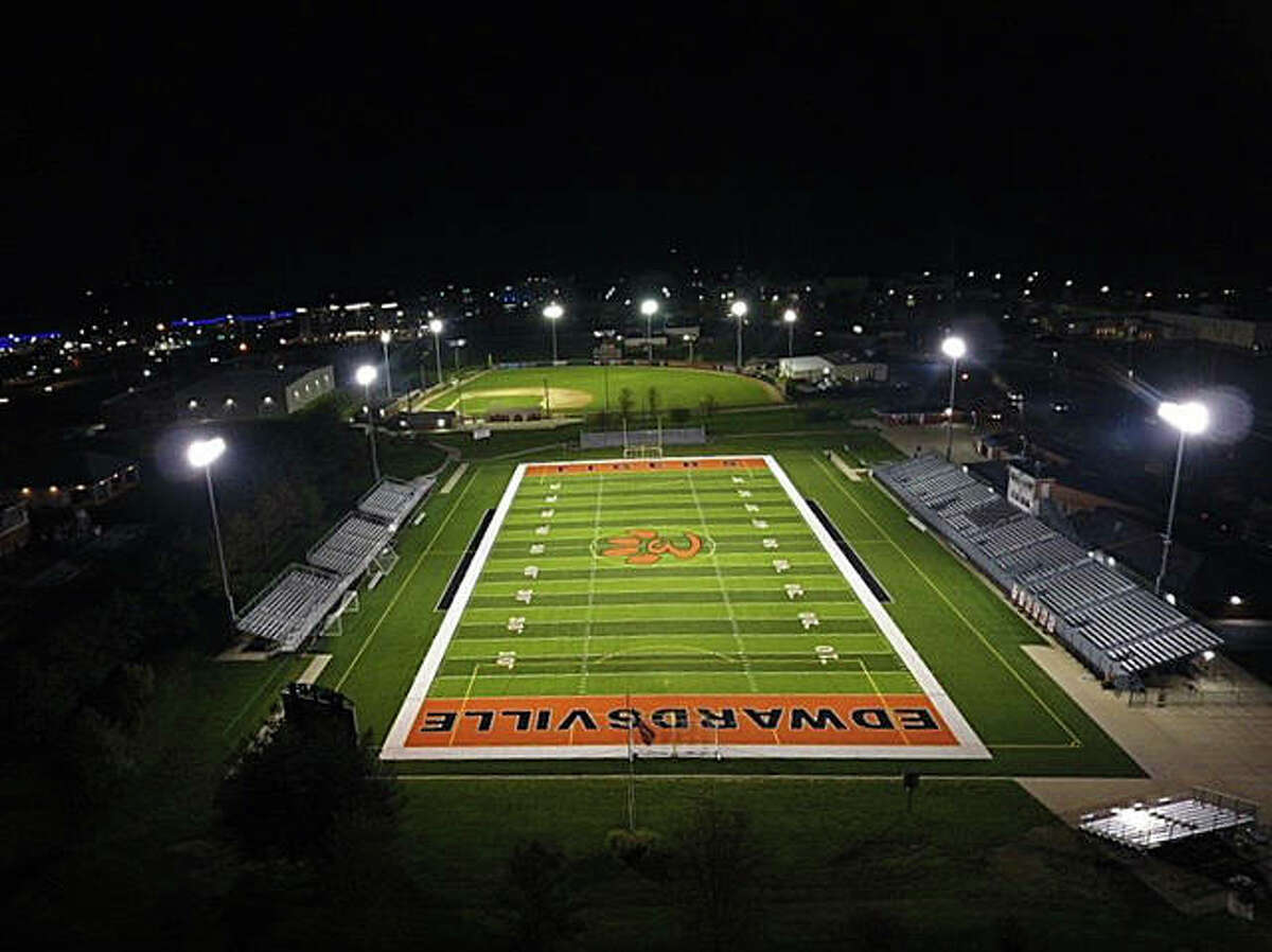 A drone shot of the varsity football and soccer field, bottom, and Tom Pile Field inside the District 7 Sports Complex.
