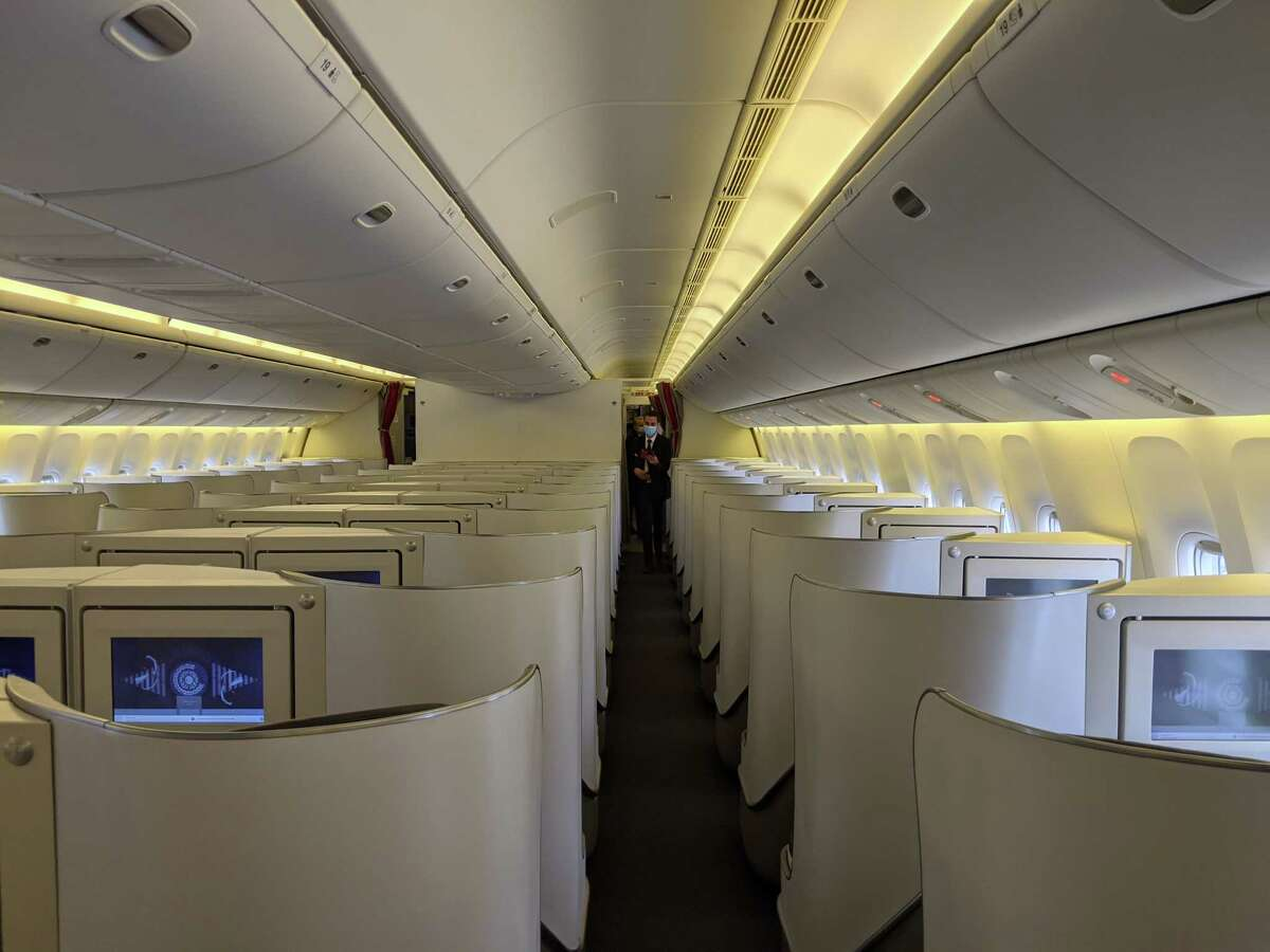 An empty business class section on the May 9, 2020, Air France Flight 66 from Paris to Los Angeles; only 33 passengers checked in for the flight on the Boeing 777-300, which has a capacity of 296.
