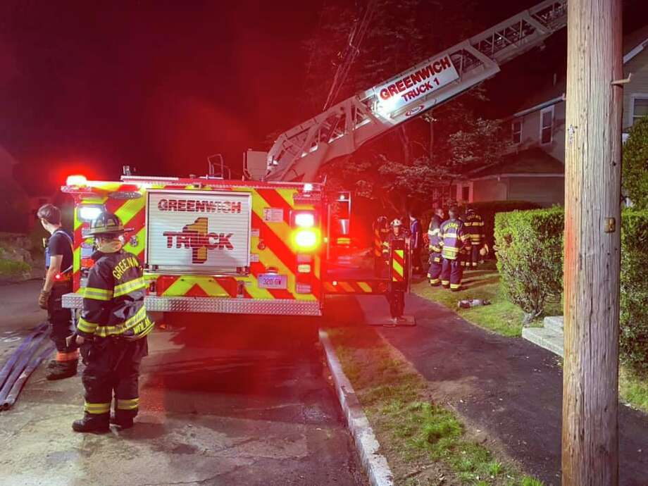 Greenwich firefighters respond to a blaze at 16 Sherman Ave. early Tuesday. Photo: / Greenwich Firefighters Union