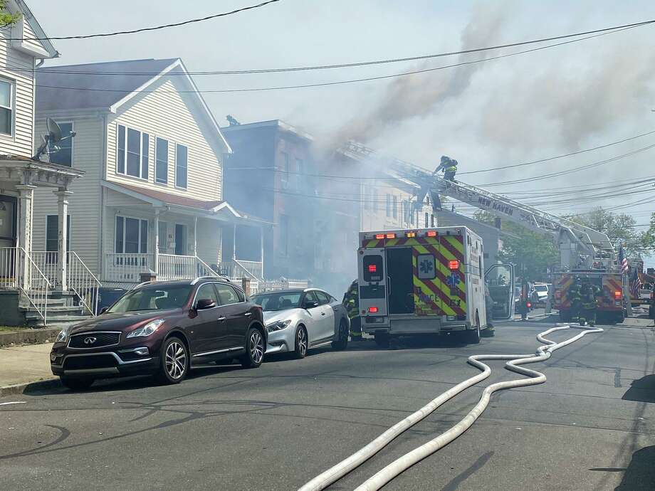 A fire at a Haven Street home in New Haven, Conn., on Tuesday, May 19, 2020. Photo: Contributed Photo / New Haven Fire Twitter