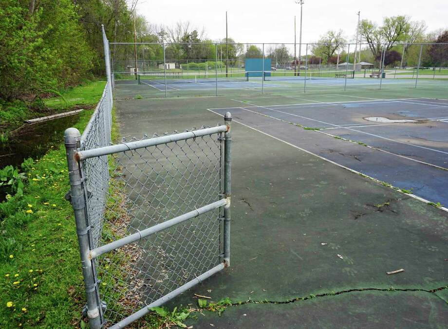 Empty tennis courts at Hemlock Park might be a frequent occurrance this summer, especially with the cancellation of this year's 'Tennis in the Park' program. (Pioneer photos/Joe Judd)