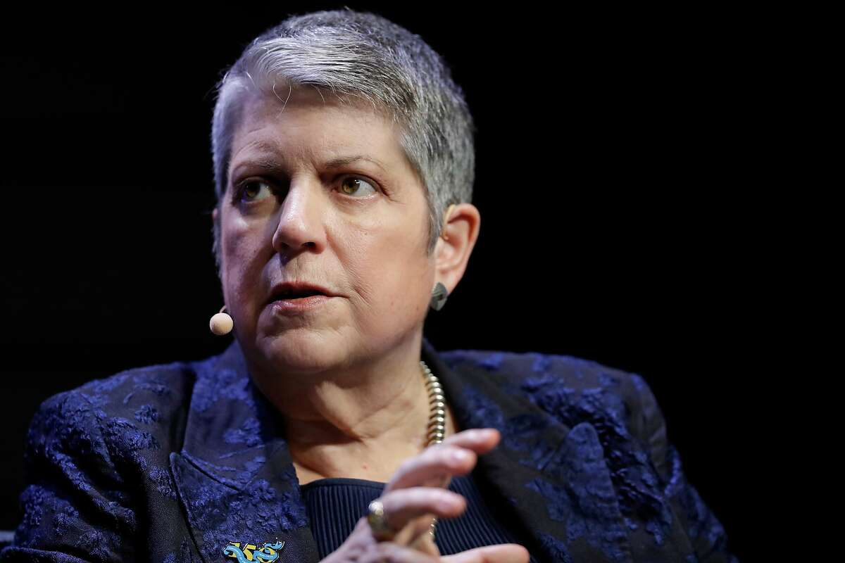 FILE - This March 7, 2018, file photo shows University of California President Janet Napolitano at a meeting of The Commonwealth Club in San Francisco.