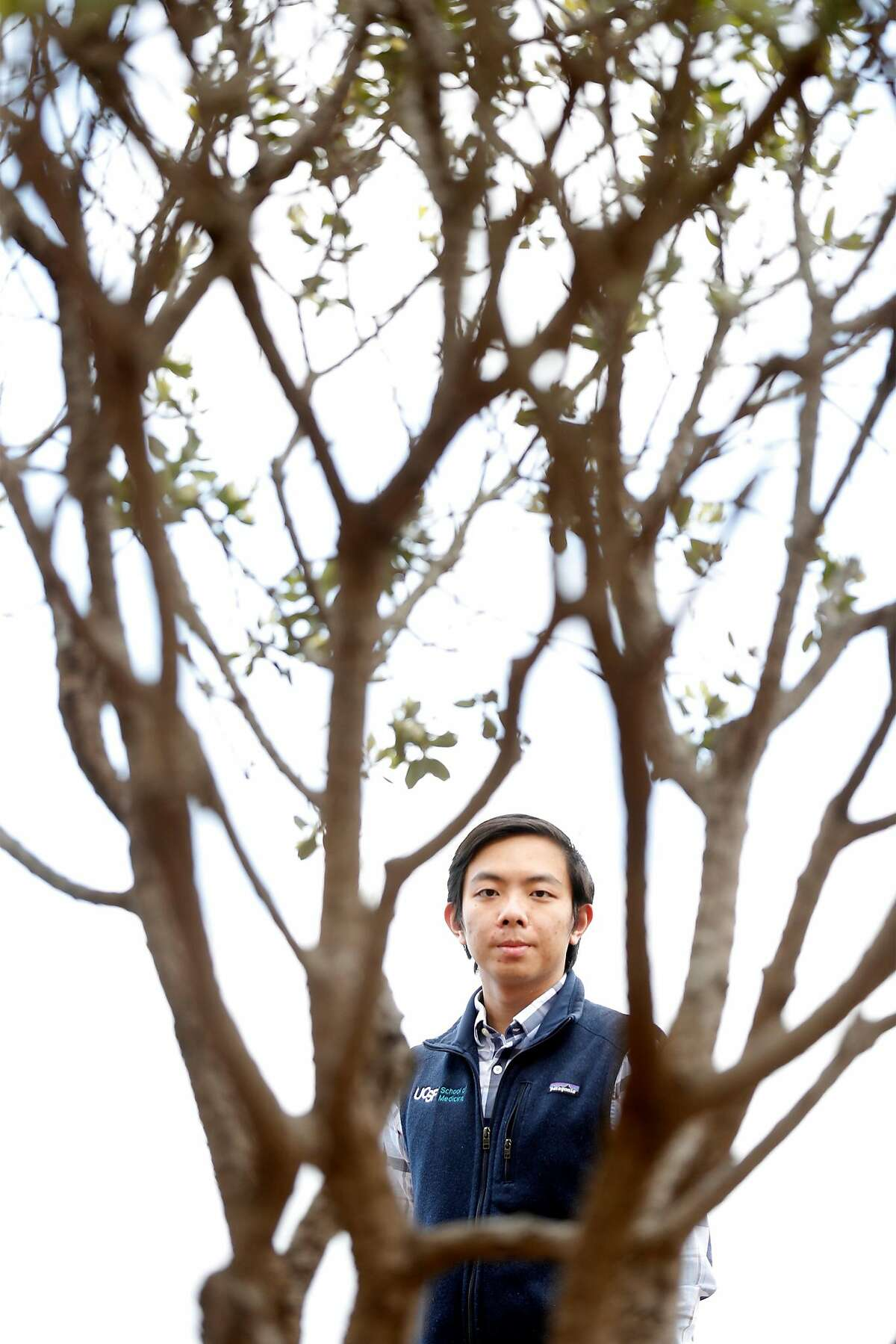 Medical student Brandon Yan at UCSF Parnassus campus in San Francisco, Calif., on Monday, May 18, 2020. Yan is the lead author of a paper detailing that, despite testing positive for the coronavirus at low rates, Asian Americans are more likely to die than any other race or ethnicity.