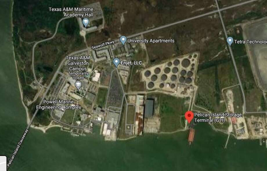 Two people were injured Tuesday after an oil tank exploded on Pelican Island in Galveston, officials said. Photo: Google Maps