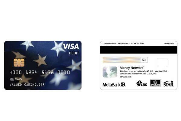 A sample Visa debit card issued by Fiserv and Metabank for Economic Impact Payments. The cards will hold funds issued by the Treasury under the Cares Act for coronavirus economic relief.