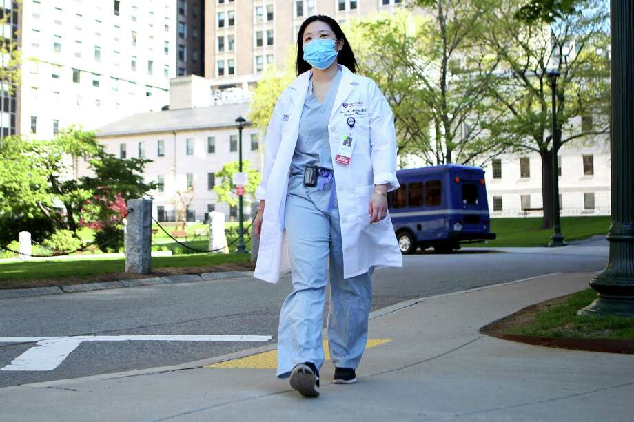 Dr. Gem Manalo is photographed at Mass General Hospital in Boston on May 14. Manalo experienced racism while riding the subway one night amid the coronavirus pandemic. Photo: Photo By Olivia Falcigno For The Washington Post / For The Washington Post
