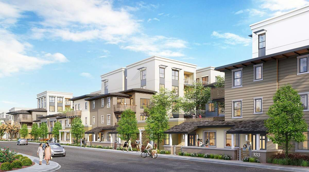 A renewed proposal from G.W. Williams Co. would build more than 400 homes on the Mills Park site in San Bruno. A rendering shows part of the proposed development.