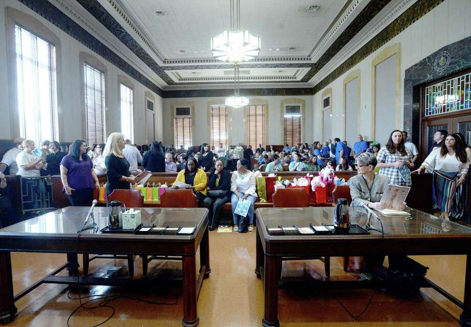 Families await the start of proceedings on National Adoption Day at the Jefferson County Courthouse Friday. Photo taken Friday, November 22, 2019 Kim Brent/The Enterprise Photo: Kim Brent / The Enterprise / BEN