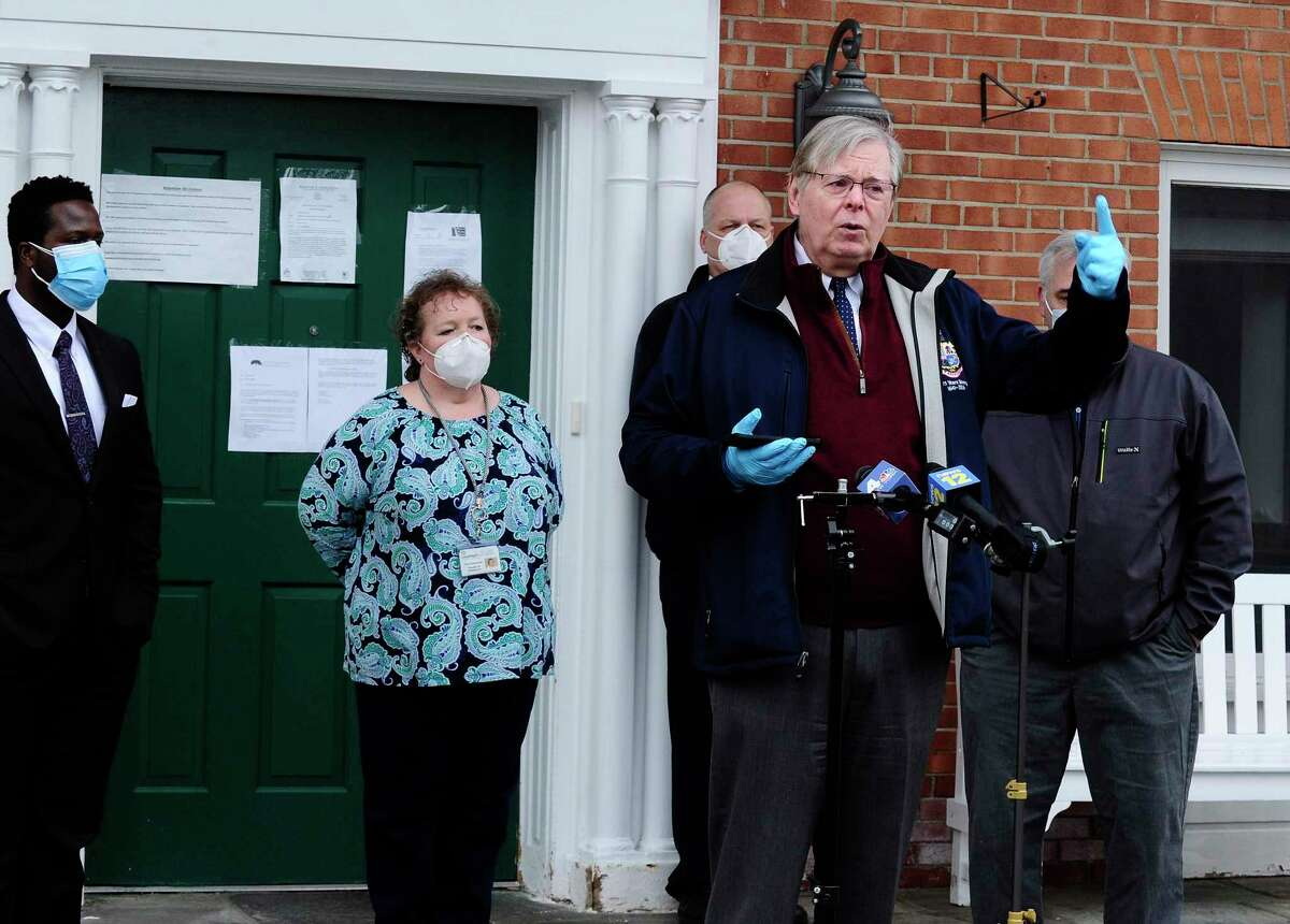 Mayor David Martin announces Covid-19 testing for nursing home employees on the steps of The Villa at Stamford April 23, 2020 in Stamford, Connecticut.