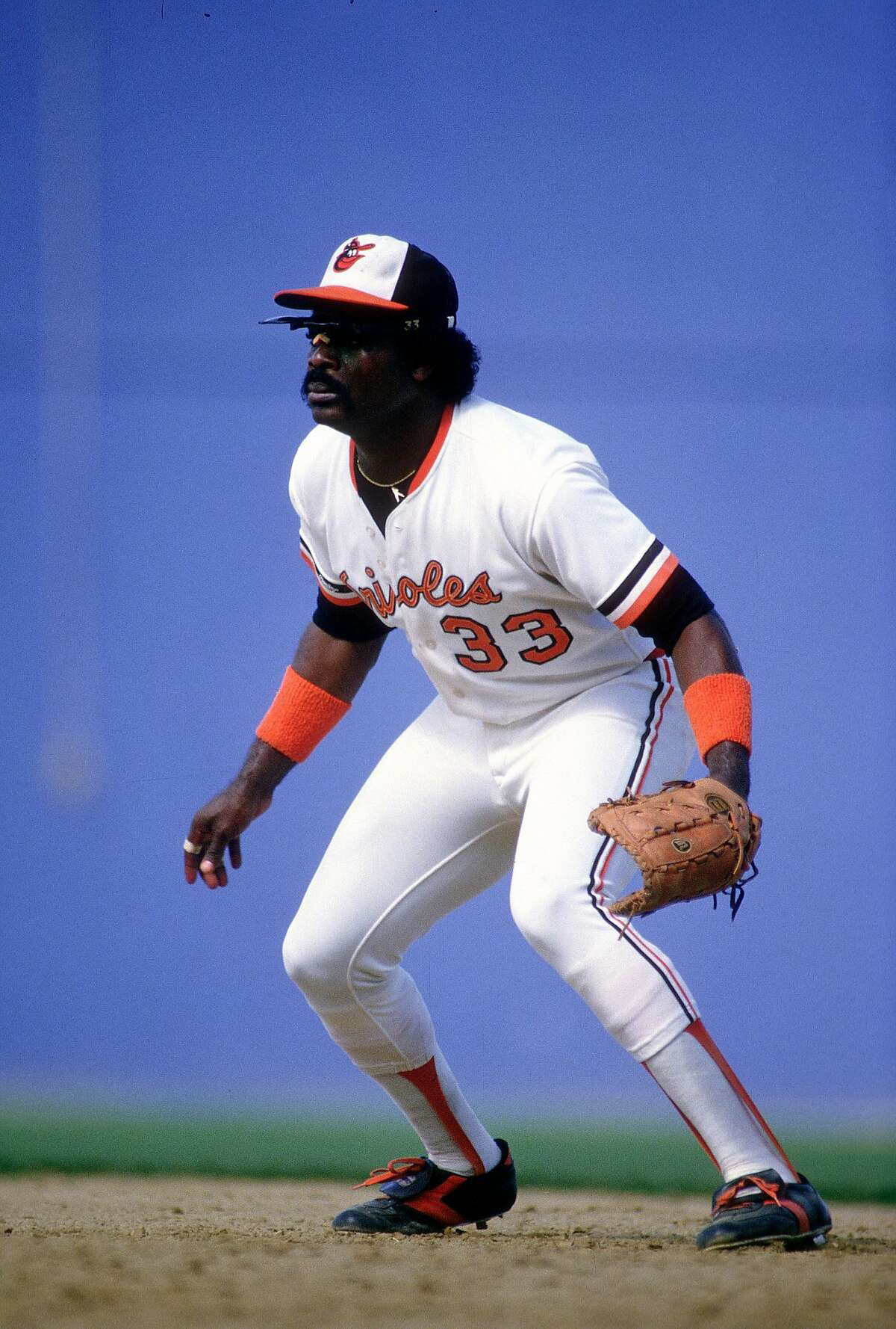 BALTIMORE, MD - CIRCA 1987: First baseman Eddie Murray #33 of the Baltimore Orioles in action during an Major League Baseball game circa 1987 at Memorial Stadium in Baltimore, Maryland. Murray played for the Orioles from 1977-88 and 1996.