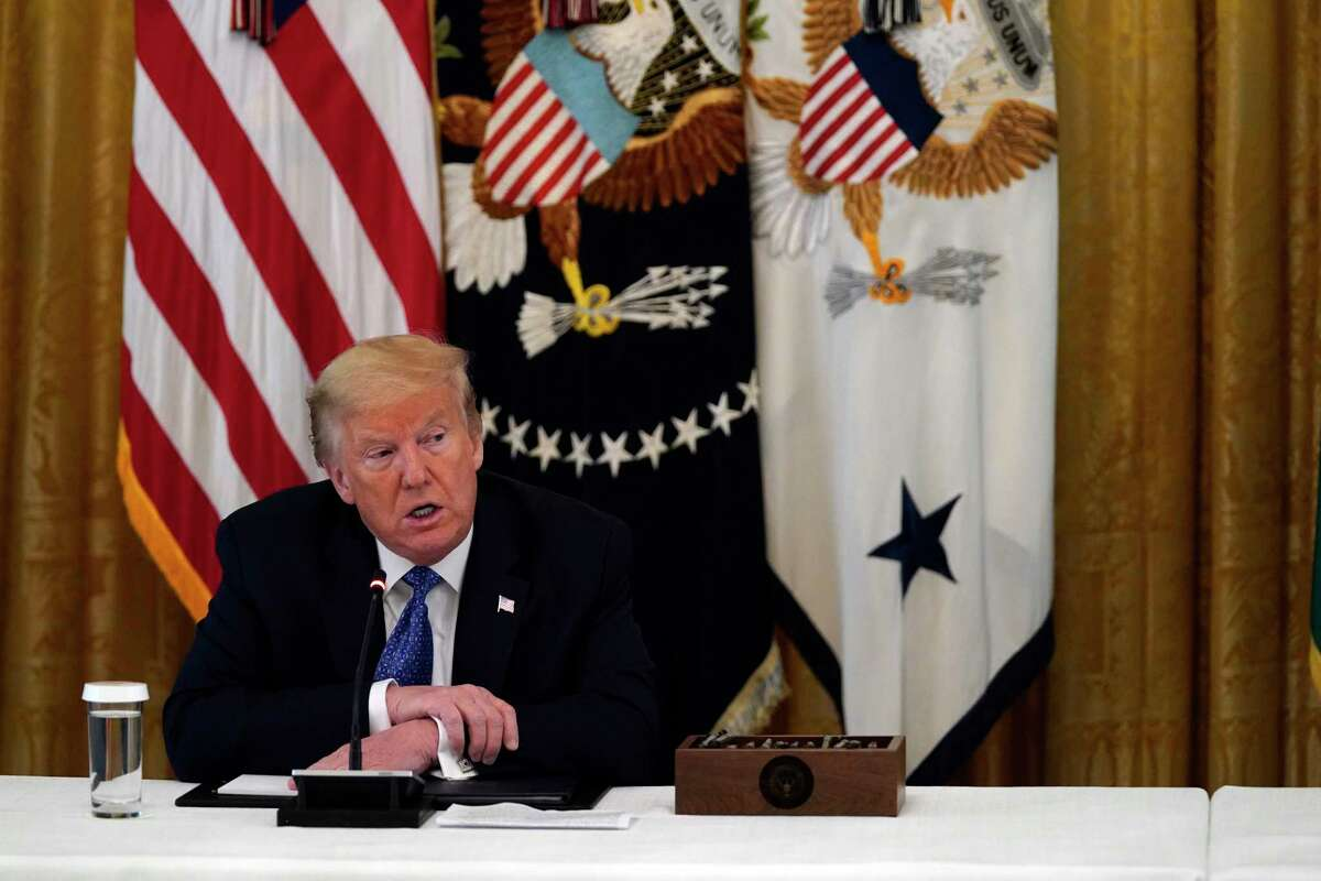 President Donald Trump speaks during a Cabinet Meeting in the East Room of the White House, Tuesday, May 19, 2020, in Washington. (AP Photo/Evan Vucci)