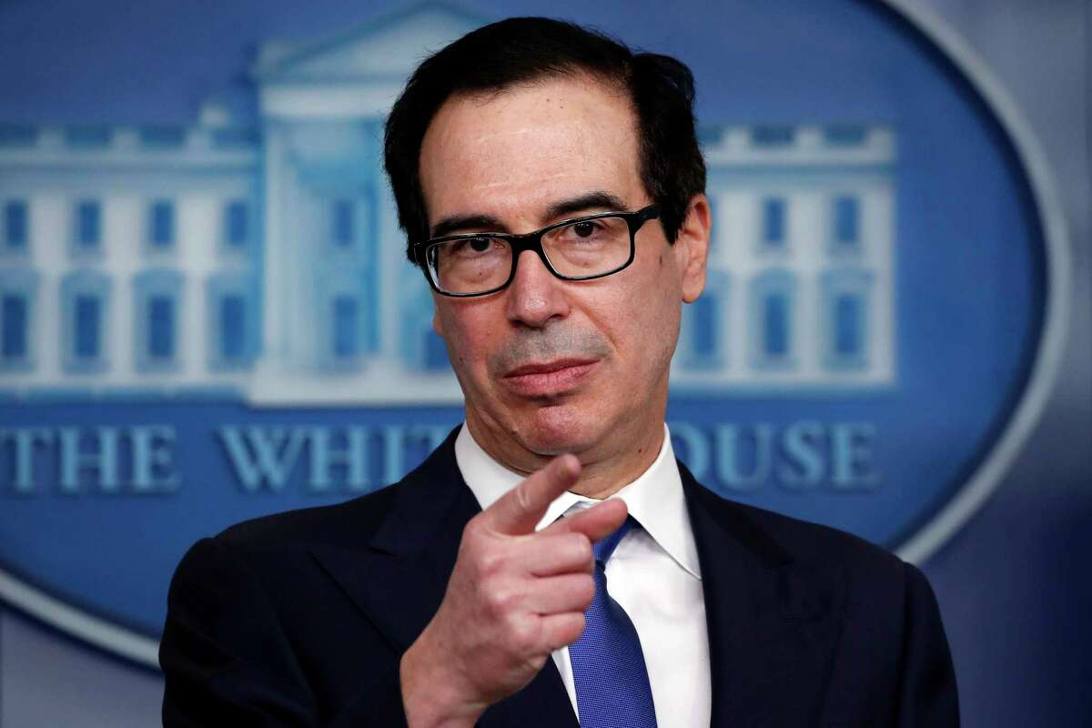 Treasury Secretary Steven Mnuchin speaks about the coronavirus in the James Brady Press Briefing Room at the White House, Monday, April 13, 2020, in Washington. (AP Photo/Alex Brandon)