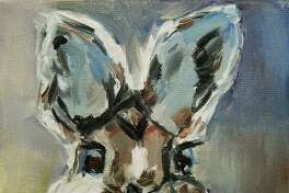 """""""Cottontail"""" by Annie McAward of Sherman was awarded first place for a painting."""