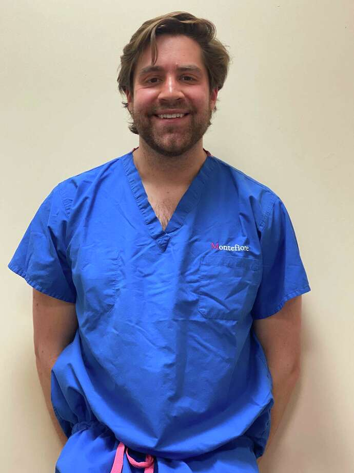 In the second year of his psychiatry residence, Ridgefield resident Ryan Flanagan was temporarily moved to a medical floor to help treat COVID-19 patients at Montefiore Medical Center in the Bronx. Photo: Contributed Photo /