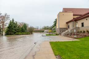 A scene from downtown Midland as the Tittabawassee River floods the city on Tuesday, May 19, 2020.