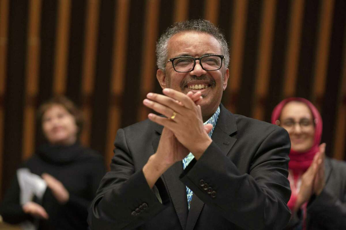 This handout image provided by the World Health Organization (WHO) on May 19, 2020, shows World Health Organization Director-General Tedros Adhanom Ghebreyesus reacting at the closing session of the World Health Assembly virtual meeting from the WHO headquarters in Geneva, amid the COVID-19 pandemic, caused by the novel coronavirus. - The World Health Organization concluded its virtual annual meeting on May 19, 2020 at which member states resolved to launch an independent investigation into the WHO's handling of the COVID-19 crisis. (Photo by Christopher Black / World Health Organization / AFP) / RESTRICTED TO EDITORIAL USE - MANDATORY CREDIT