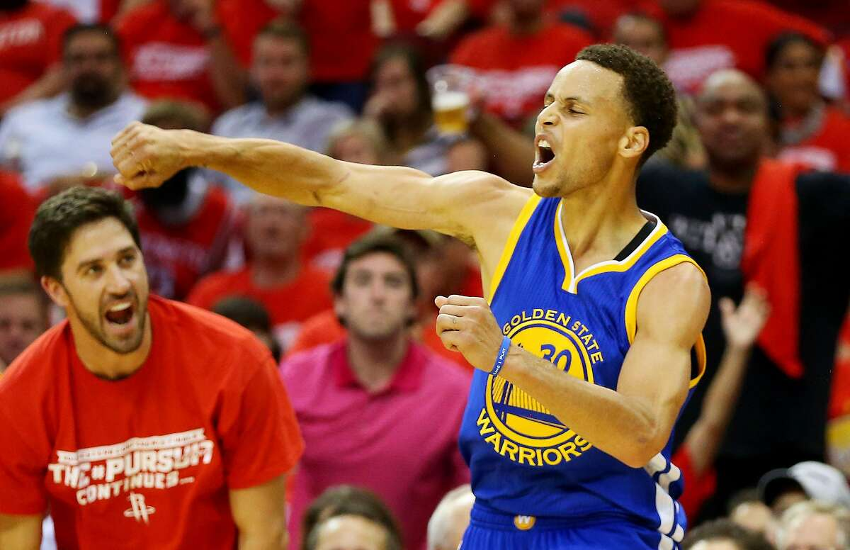 HOUSTON, TX - MAY 23: Stephen Curry #30 of the Golden State Warriors reacts in the third quarter against the Houston Rockets during Game Three of the Western Conference Finals of the 2015 NBA PLayoffs at Toyota Center on May 23, 2015 in Houston, Texas. NOTE TO USER: User expressly acknowledges and agrees that, by downloading and or using this photograph, user is consenting to the terms and conditions of Getty Images License Agreement. (Photo by Ronald Martinez/Getty Images)