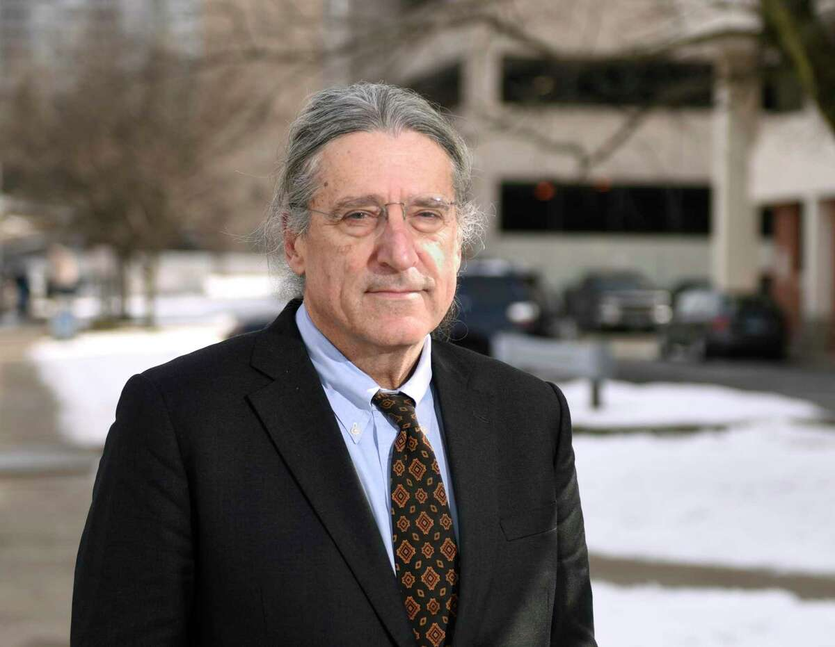 Defense attorney Norm Pattis poses outside the Connecticut Superior Court in Stamford, Conn. Thursday, Jan. 23, 2020.