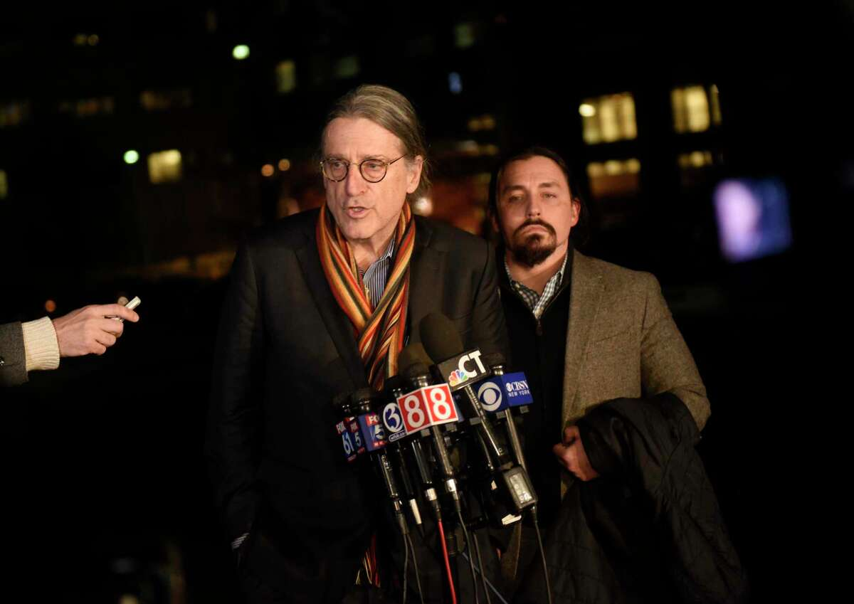 Fotis Dulos' attorney Norm Pattis, left, speaks beside attorney Kevin Smith in a press conference after Dulos' death at 5:32 p.m. at Jacobi Medical Center in Bronx, N.Y. Thursday, Jan. 30, 2020.
