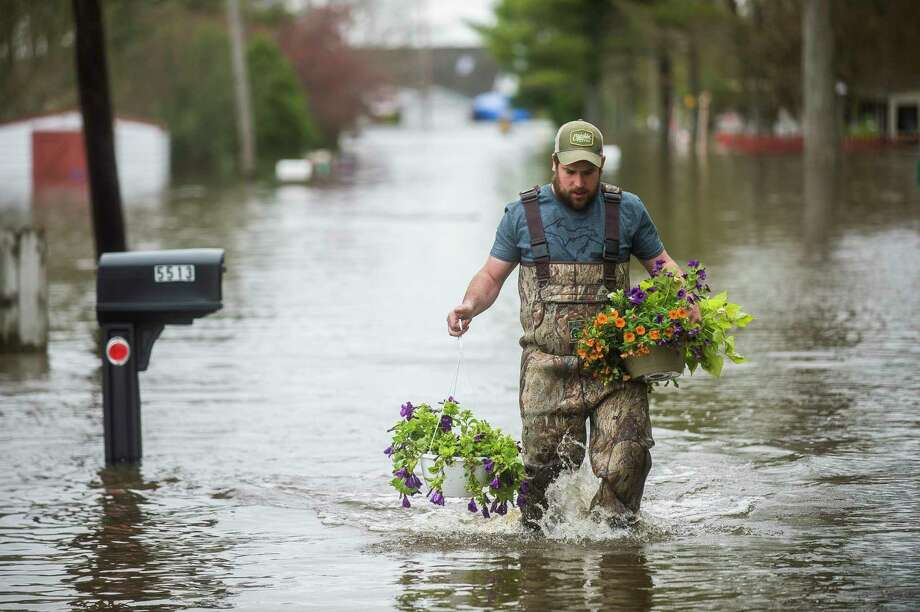 Tyler Marciniak of Grand Rapids carries hanging plants through floodwater as he helps his father, Tom Marciniak, assess the damage to his home on Red Oak Drive on Wixom Lake Tuesday in Beaverton. (Katy Kildee/kkildee@mdn.net)