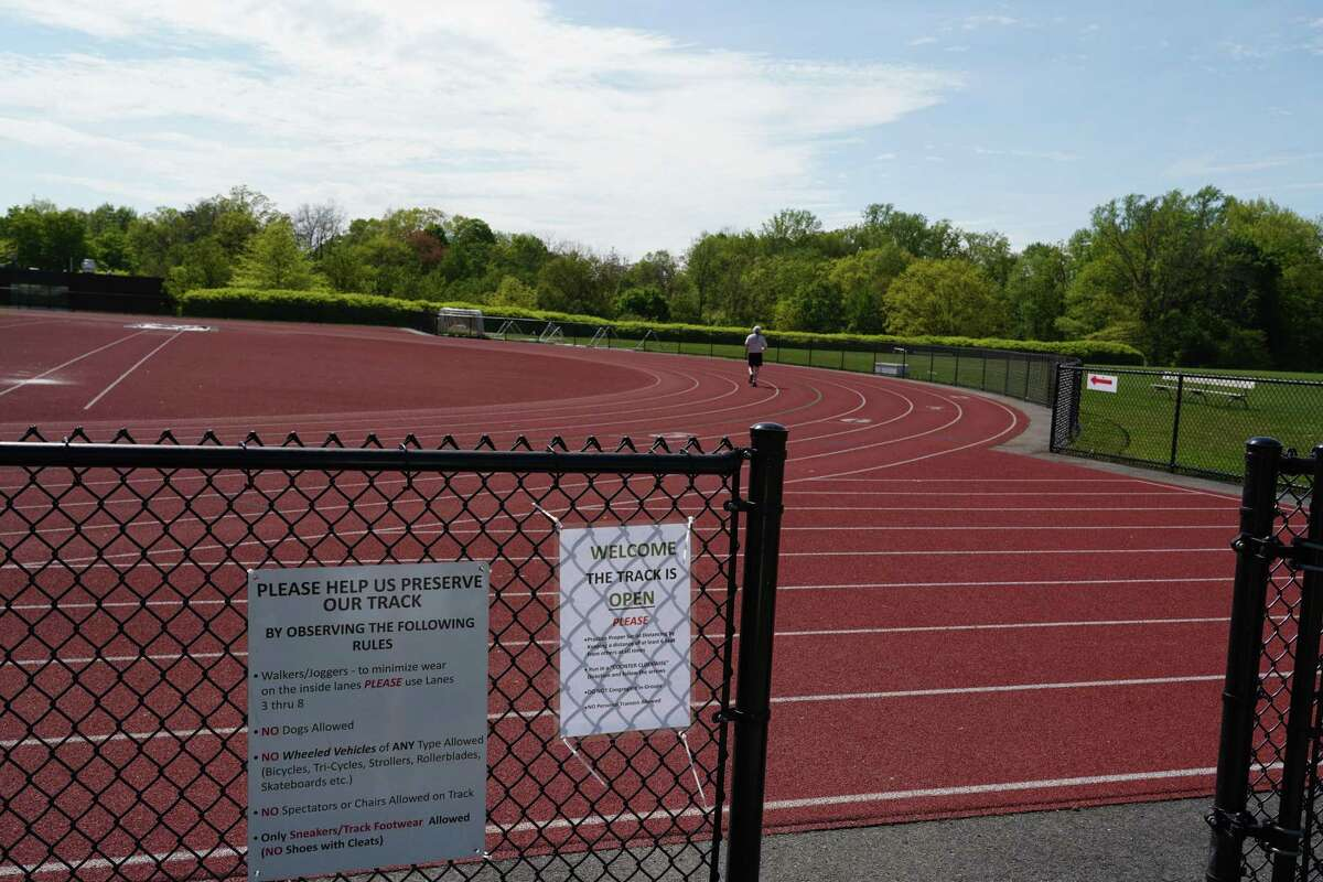 The track in New Canaan has reopened after being closed for the pandemic. New arrows point in one direction and there are other new rules on the sign as one enters, as of May 18.
