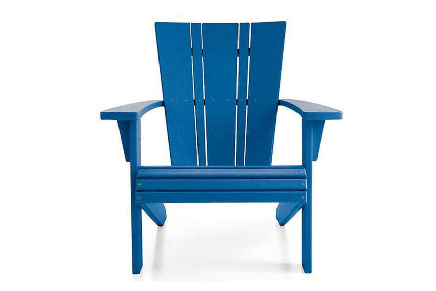 Crate & Barrel Vista II Slate Grey Adirondack Chaircrateandbarrel.com$399.00 Constructed entirely of recycled plastic bottles, this sustainably sourced Adirondack chair from Crate & Barrel is sleek, stately, and functional enough for daily use. The arms are also wide enough to serve as surfaces for books, beverages, or the occasional al fresco dish.