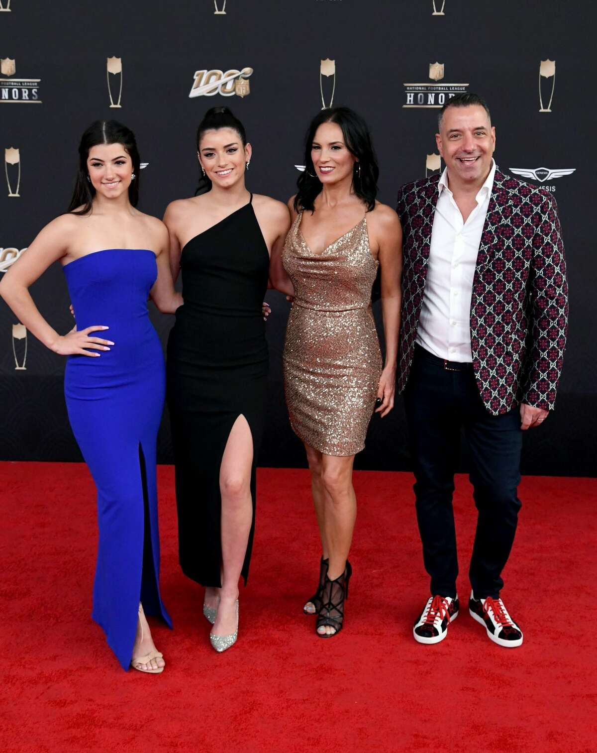 Charli D'Amelio, Dixie D'Amelio, Heidi D'Amelio, and Marc D'Amelio attend the 9th Annual NFL Honors at Adrienne Arsht Center on February 01, 2020 in Miami, Florida. Dixie, the eldest sister, sent out some tweets alluding to the backlash including on that said