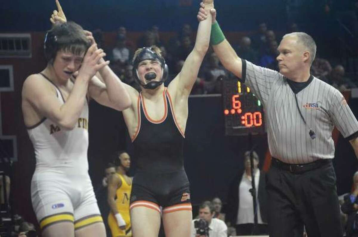 Noah Surtin became the first Edwardsville wrestling to win a state championship, claiming the Class 3A championship in 113 pounds as a junior in 2018. He returned and took second at 120 pounds as a senior.