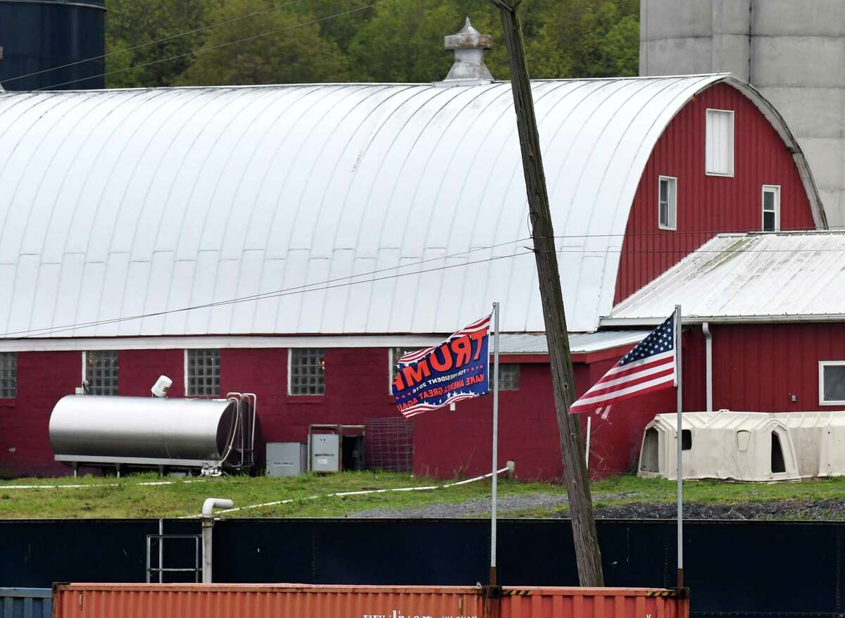 Exterior of Meadowbrook Farms dairy in Clarksville, N.Y. Months after a contentious debate erupted over the farm's flags in support of President Donald Trump, there's new a new flag controversy involving the farm. (Will Waldron/Times Union)