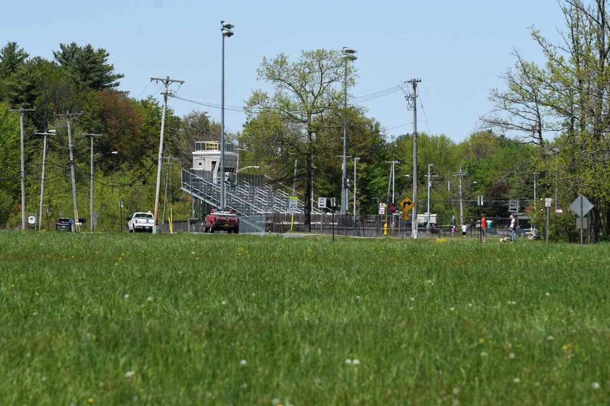 Power lines run alongside Van Dyke Road across from Bethlehem High School on Wednesday, May, 20, 2020, on in Bethlehem, N.Y. National Grid is proposing to build substation in farmland near Van Dyke Road. (Will Waldron/Times Union)