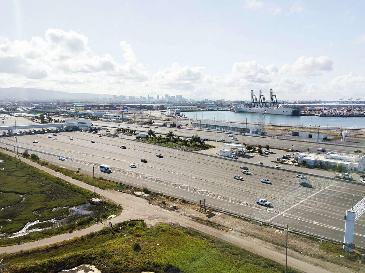 The metering lights west of the toll plaza, normally used to even the flow of traffic heading onto the Bay Bridge during peak hours, were not in force Tuesday morning at 8 a.m. The traffic was evenly spaced and little congestion was seen.