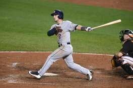 BALTIMORE, MD - AUGUST 19: Alex Bregman #2 of the Houston Astros tales a swing during a baseball game against the the Baltimore Orioles at Oriole Park at Camden Yards on August 19, 2016 in Baltimore, Maryland. The Astros won 15-8. (Photo by Mitchell Layton/Getty Images)