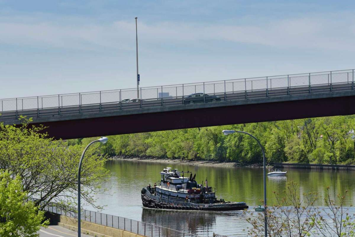 A tug boat is piloted down the Hudson River on Wednesday, May 20, 2020, in Troy, N.Y. (Paul Buckowski/Times Union)