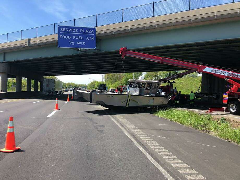 A crash on Interstate 95 south near Exit 41 in Orange, Conn., on Wednesday, May 20, 2020. Photo: Contributed Photo / Connecticut State Police Troop G