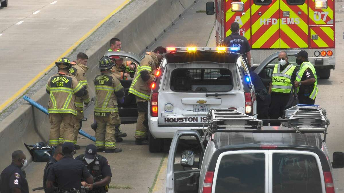A Houston ISD police officer was injured in a crash on Texas Highway 288 near Interstate 45 on Wednesday, May 20, 2020.