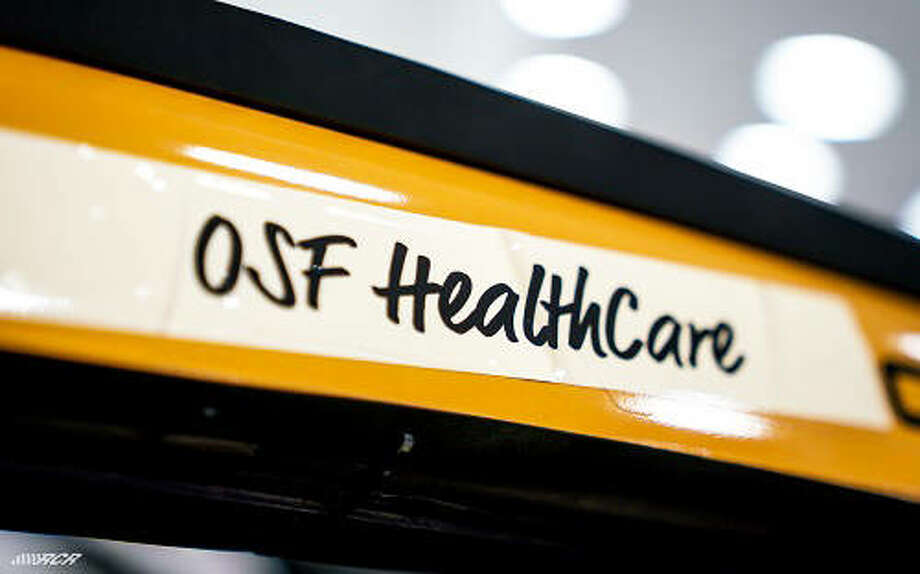The team at Richard Childress Racing is honoring OSF HealthCare by putting the name above the door of Tyler Reddick's No. 8 Caterpillar Chevrolet. Photo: For The Telegraph