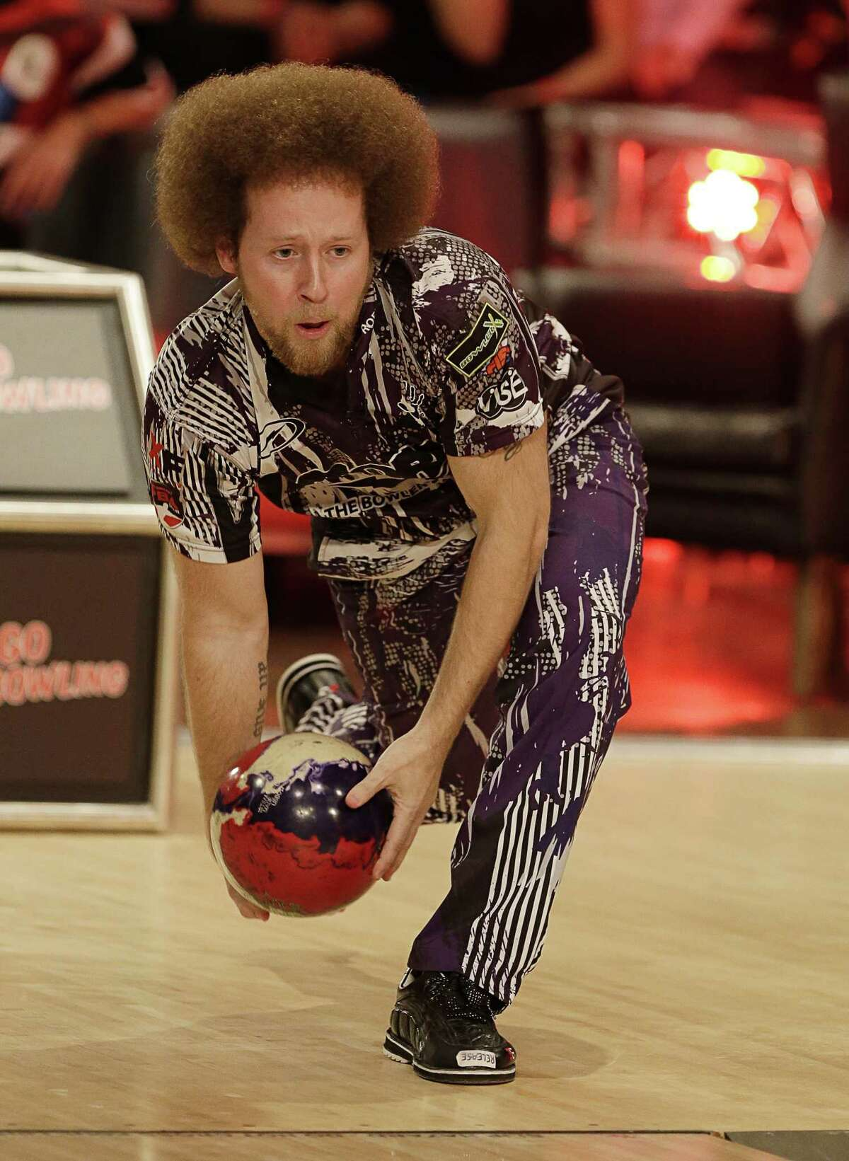 HOUSTON, TEXAS - JANUARY 17: PBA bowler Kyle Troup bowls during the 2019 State Farm Chris Paul PBA Celebrity Invitational on January 17, 2019 in Houston, Texas. (Photo by Bob Levey/Getty Images for PBA)