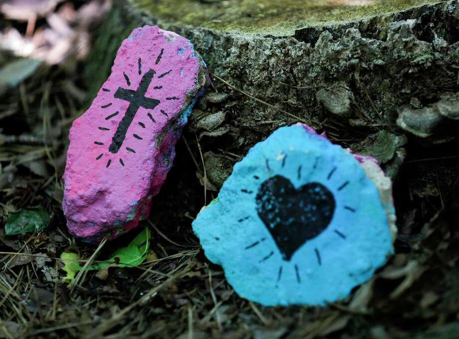 Painted rocks accent the trails around The Woodlands, Saturday, May 2, 2020. Photo: Jason Fochtman, Houston Chronicle / Staff Photographer / 2020 © Houston Chronicle