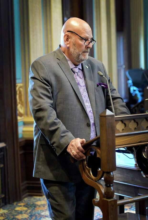 Sen. Curt VanderWall, R-Ludington, delivers a statement from the Senate floor Wednesday regarding the economic destruction the governor's decisions have caused in his district. (Courtesy photo)
