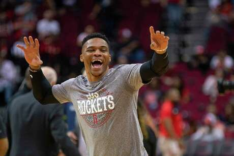 Russell Westbrook, before the Rockets' last game before the shutdown, was hitting his stride.