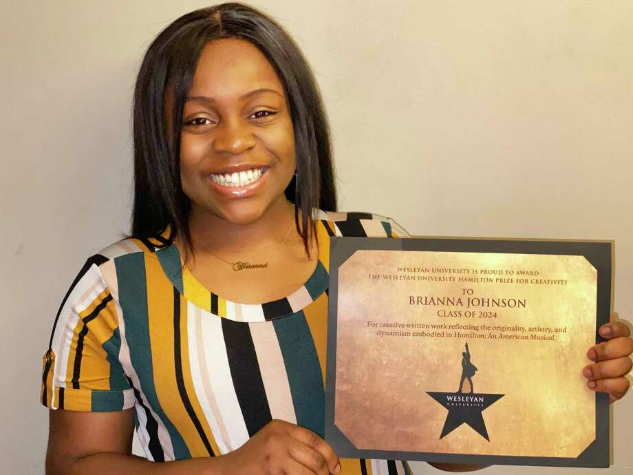 """Wesleyan University awarded its prestigious Hamilton Prize for Creativity to three students whose creative written works best reflect the originality, artistry, and dynamism of """"Hamilton: An American Musical."""" Shown here is Brianna Johnson, who won first place. Photo: Contributed Photo"""