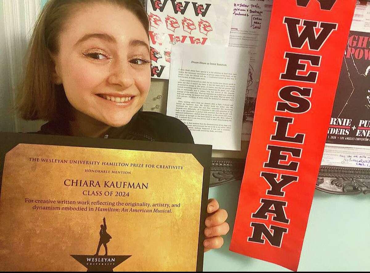 Wesleyan University student Chiara Naomi Kaufman shows off her award.