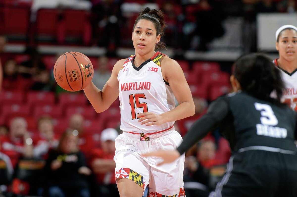 COLLEGE PARK, MD - JANUARY 17: Chloe Pavlech #15 of the Maryland Terrapins handles the ball against the Northwestern Wildcats at the Xfinity Center on January 17, 2016 in College Park, Maryland. (Photo by G Fiume/Maryland Terrapins/Getty Images)