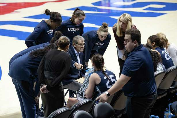 DALLAS, TX - JANUARY 05: UConn Huskies head coach Geno Auriemma coaches his team during a timeout during the American Athletic Conference womens college basketball game between the UConn Huskies and the SMU Mustangs on January 05, 2020 at Moody Coliseum in Dallas, Texas. (Photo by Matthew Visinsky/Icon Sportswire via Getty Images)
