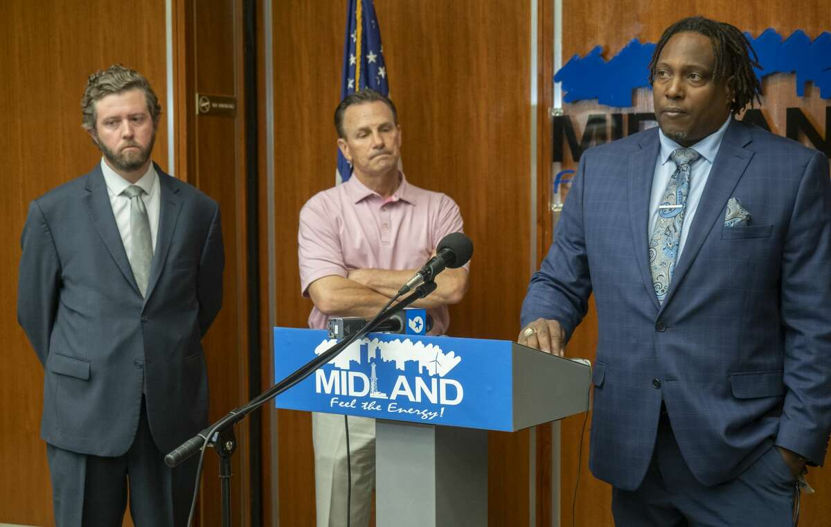 Councilman John Norman speaks 05/20/2020 during a press cone about the city's response to the viral video arrest of Tye Anders. Norman plans to host a community meeting to listen to citizens concerns next week. Tim Fischer/Reporter-Telegram